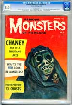 FAMOUS MONSTERS OF FILMLAND #8 (1960) CGC VF 8.0 OW Pgs - LON CHANEY.