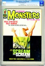 FAMOUS MONSTERS OF FILMLAND #90 (1972) CGC VF+ 8.5 OW Pgs TOR JOHNSON OBITUARY