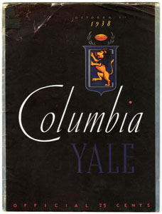 YALE UNIVERSITY VS. COLUMBIA - OFFICIAL GAME PROGRAM (FOOTBALL) 10-1-1938