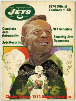 NEW YORK JETS OFFICIAL 1974 YEARBOOK - JOE NAMATH / WEEB EWBANK Football