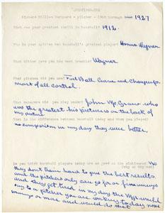 RUBE MARQUARD - HANDWRITTEN QUESTIONNAIRE (1960s)