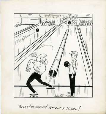 JEFF KEATE - TIME OUT ORIG ART 12-21 BOWLING / RULES!