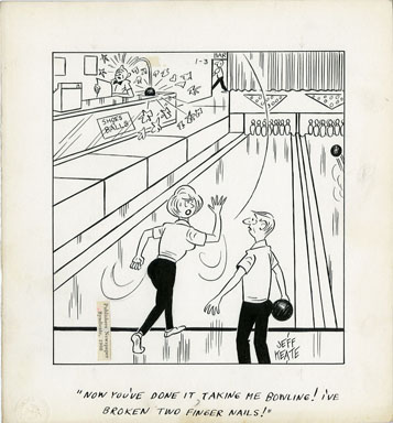 JEFF KEATE - TIME OUT ORIG ART 1-3-66 BOWLING / NAILS
