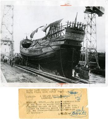 NEWS PHOTO: SANTA MARIA REPLICA LAUNCHED IN SPAIN 1929
