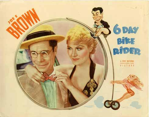 6 DAY BIKE RIDER (1934) Lobby Card JOE E. BROWN