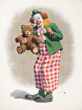 ARTHUR SARNOFF - CLOWN WITH TEDDY BEAR ORIG PAINTED ART