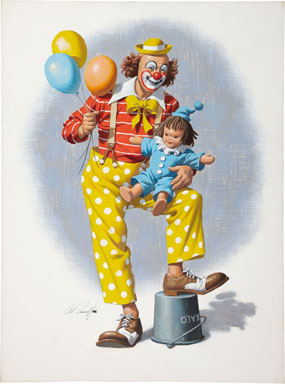 ARTHUR SARNOFF - CLOWN WITH DOLL ORIGINAL PAINTED ART