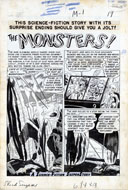 "JOE ORLANDO -SHOCK SUSPENSTORIES #1 ""Monsters"" COMPLETE 6 pg STORY ART"