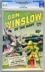 DON WINSLOW OF THE NAVY #4 (1943) CGC VF 8.0 OW CROWLEY