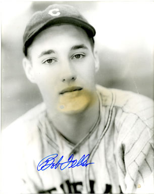 BOB FELLER (PITCHER) - SIGNED PHOTO CLEVELAND INDIANS