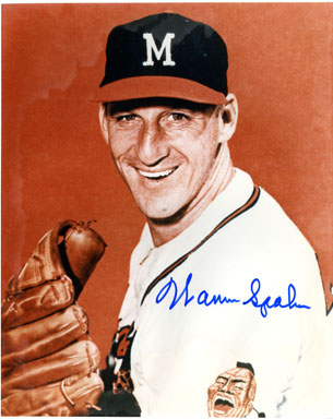 WARREN SPAHN (PITCHER) - SIGNED PHOTO CLEVELAND INDIANS