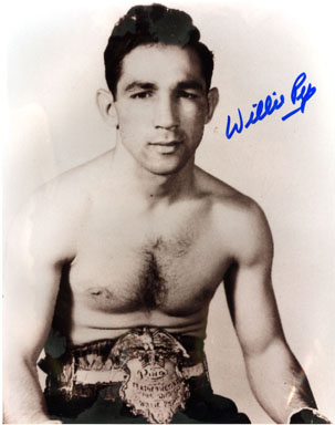 WILLIE PEP (BOXER) - AUTOGRAPHED PHOTO  HALL OF FAMER