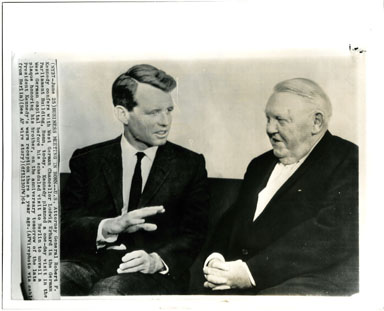 AP NEWS PHOTO: ROBERT KENNEDY & LUDWIG ERHARD (1964)