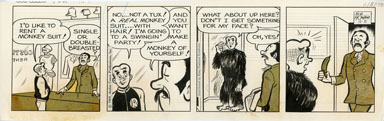 BOB MONTANA - ARCHIE DAILY ORIG ART 11-5-69 MONKEY SUIT