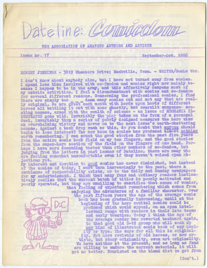 DATELINE: COMICDOM #17 (1966) FANZINE - RONN FOSS Art