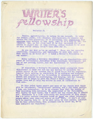 WRITER'S FELLOWSHIP BULLETIN #1 (1964) FANZINE Bob Butts