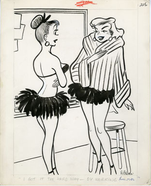 BO BROWN - JEST MAGAZINE GAG ORIG ART 1958 - MINK COAT