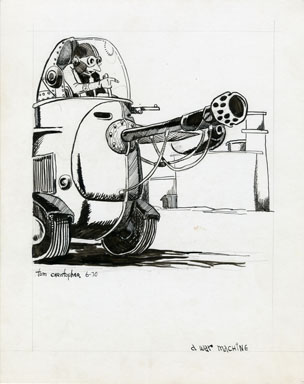 TOM CHRISTOPHER -WAR MACHINE FANZINE ILLO ORIG ART 1970