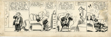 C.A. VOIGHT - PETEY DINK DAILY STRIP ORIG ART BATH RING