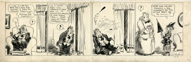 C.A. VOIGHT - PETEY DINK DAILY STRIP ORIG ART SMOKING