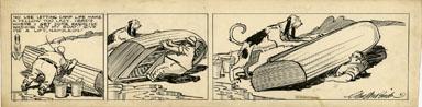 CLIFFORD McBRIDE - NAPOLEON DAILY ART 1940s BOAT TUMP