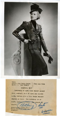 AP NEWS PHOTO: JACQUES HEIM DESIGNED COCKTAIL SUIT 1938