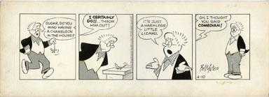 BILL YATES -PROF PHUMBLE DAILY ORIG ART 04-10-61 LIZARD
