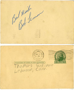 BOB LEMON - VINTAGE SIGNED POSTCARD 1949 HALL OF FAMER