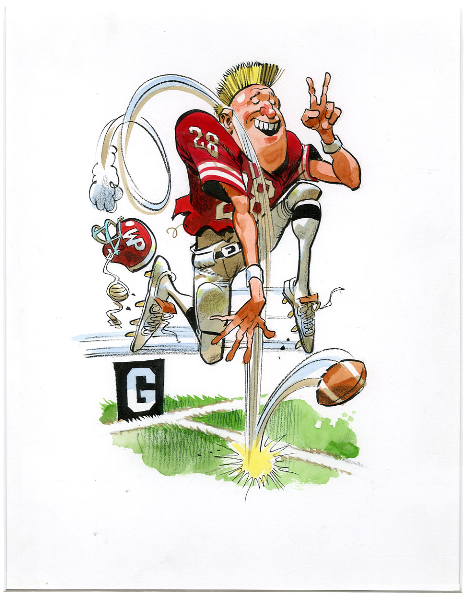 JACK DAVIS - TOUCHDOWN CELEBRATE/FOOTBALL ILLO ORIG ART