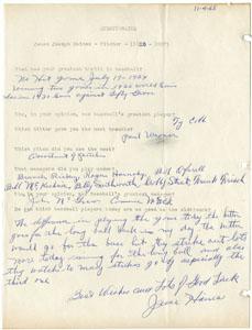 JESSEE HAINES - HANDWRITTEN QUESTIONNAIRE (1965)