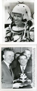 NEWS PHOTOS: ASTRONAUT FRANK BORMAN (2 PHOTOS) LEM 1965