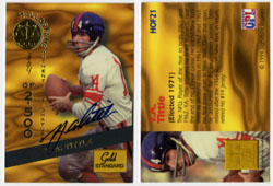 Y.A. TITTLE - SIGNED HALL OF FAME TRADING CARD 804/2500