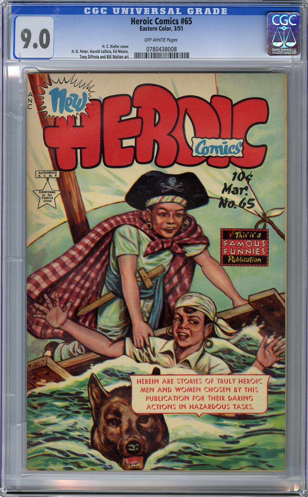HEROIC COMICS #65 (1951) CGC VF/NM 9.0 OFF-WHITE Pages