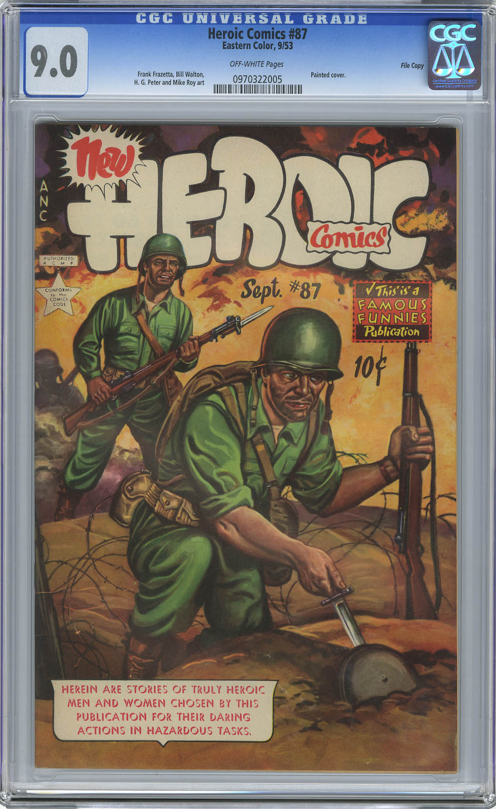 HEROIC COMICS #87 (1953) CGC VF/NM 9.0 OW Pgs FILE COPY