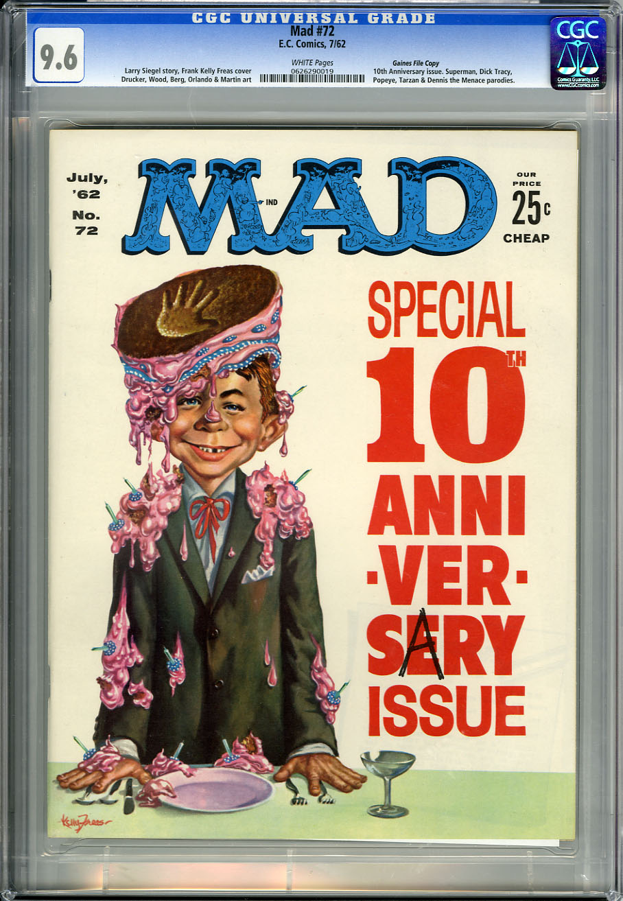 MAD #72 CGC NM+ 9.6 WHT Pages GAINES - 10th Anniversary