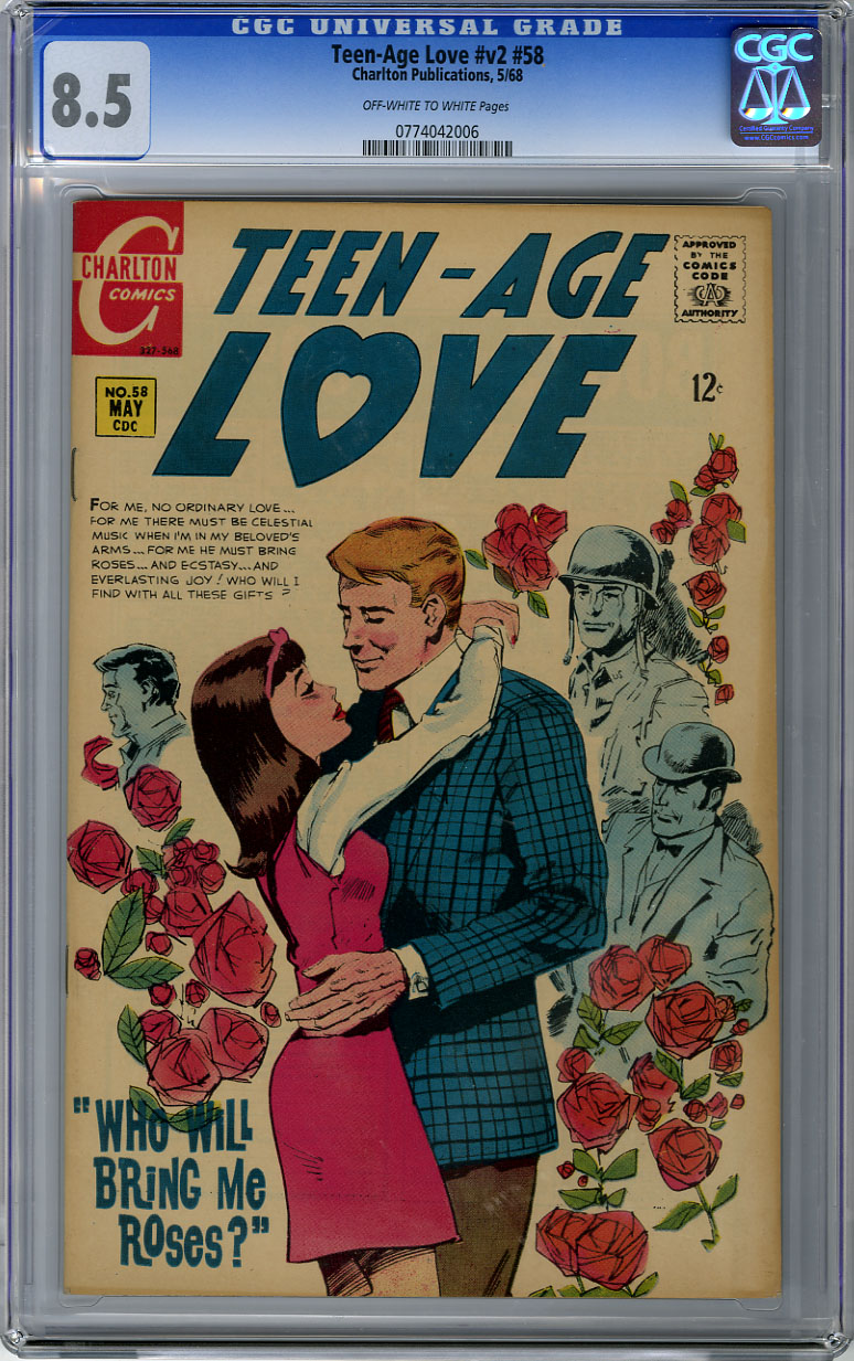 TEEN-AGE LOVE #v2 #58 (1968) CGC VF+ 8.5 OWW Pages