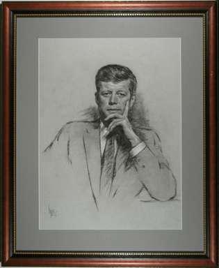 LOUIS LUPAS - JOHN F. KENNEDY PRES. PORTRAIT ORIG ART