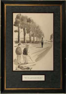 CHARLES ADDAMS - NEW YORKER Cartoon (1939) LINCOLN on GOLF COURSE Orig Art