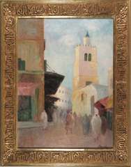 MOROCCAN CITY STREET SCENE Painting w/ ORNATE FRAME