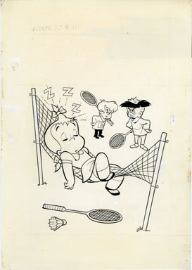 WARREN KREMER - LITTLE AUDREY #91 COVER ORIG ART TENNIS
