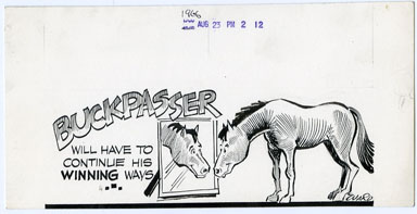 GENE WARD - POL. CARTOON ORIG ART HORSE RACING 8-23-66