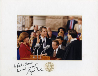 GEORGE W. BUSH GOVERNOR INAUGURATION SIGNED PHOTOGRAPH