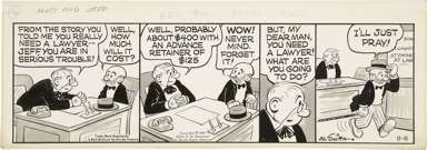 AL SMITH - MUTT & JEFF DAILY ORIGINAL ART 8-8-67