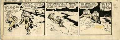 ZACK MOSLEY - SMILIN' JACK DAILY ORIG ART 1-7-52 CRASH!