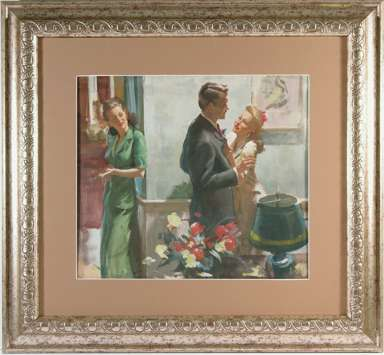 HARRY ANDERSON - Orig STORY ILLUSTRATION Painting 1940s
