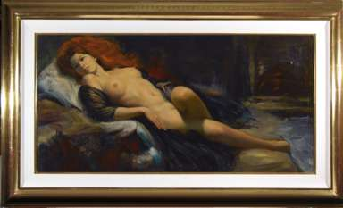 EARL MORAN - Orig NUDE OIL #184 - Reclining Red Head.
