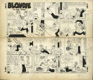 CHIC YOUNG - BLONDIE SUNDAY ORIG ART 9-8-46 SALESMAN