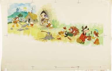 AL WHITE - DISNEY MAG ILLO ORIG ART 1975 GOOFY DONALD