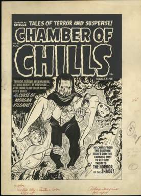 LEE ELIAS - CHAMBER OF CHILLS #11 COVER ORIG ART 1952