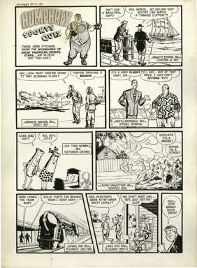 AL AVISON - LITTLE MAX #16 Original SPORTS QUIZ Page ART (1951)